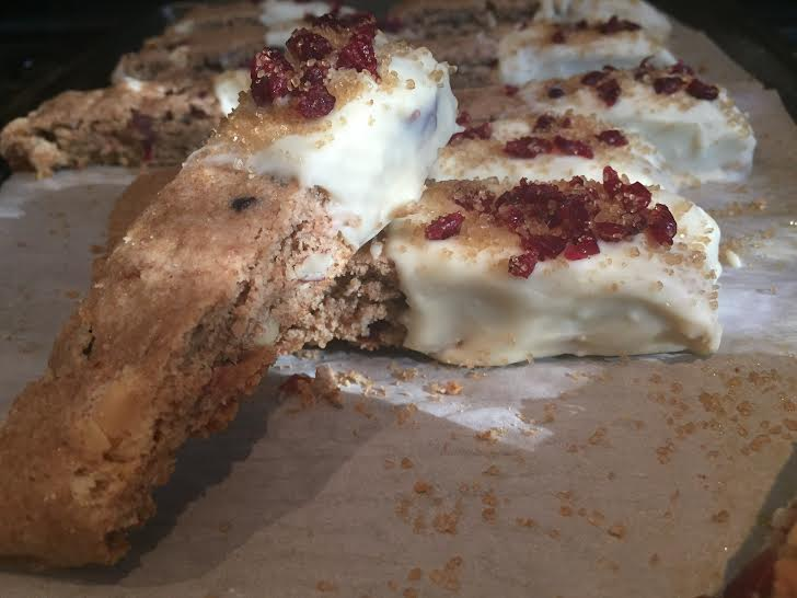 Cranberry Almond Biscotti dipped in White Chocolate (Whole Wheat ...